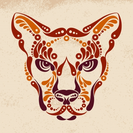Puma tattoo, color symbol decoration illustration Vector