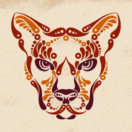 cougar: Puma tattoo, color symbol decoration illustration