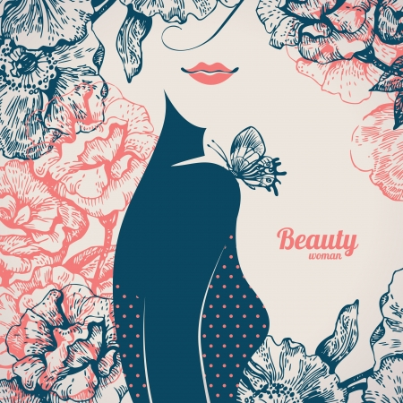 Beautiful girl silhouette. Vintage retro background with hand drawn rose flowers Vector