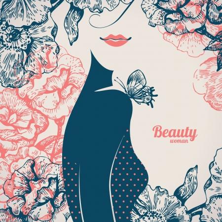 Bella ragazza silhouette. Vintage retrò con sfondo disegnato a mano fiori di rosa