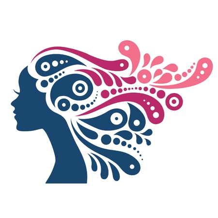 Beautiful woman silhouette. Tattoo of abstract girl hair  Vector