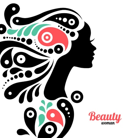 tattoo face: Beautiful woman silhouette