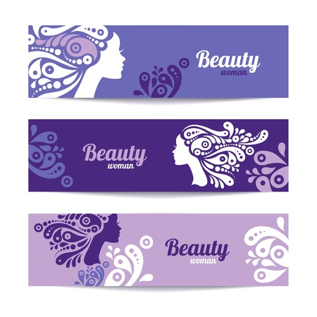 female hair: Banners with stylish beautiful woman silhouette. Template design cards