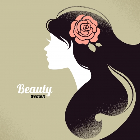 pretty face: Vintage beautiful girl silhouette Illustration