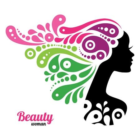 woman face: Beautiful woman silhouette
