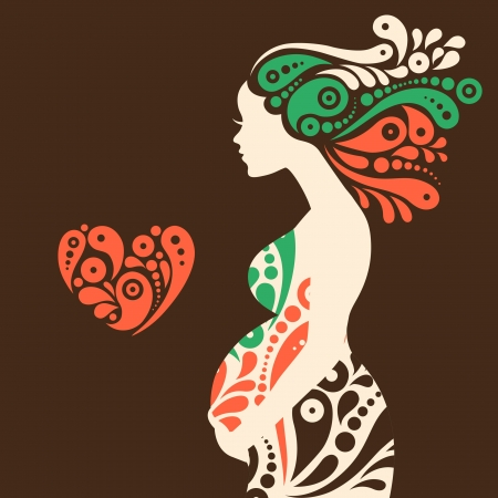 Pregnant woman silhouette with abstract decorative flowers and heart symbol Illustration