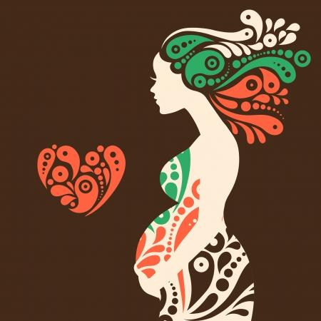 embarazada feliz: Silueta de la mujer embarazada con flores decorativas abstractas y símbolo del corazón