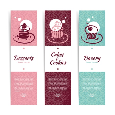 Set of vintage bakery banners with cupcakes  Menu for restaurant and cafe  Vector
