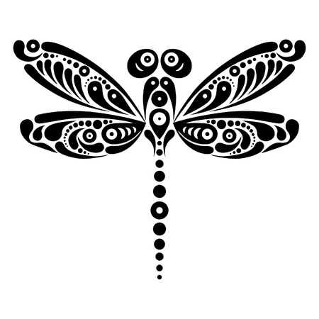 fantasy art: Beautiful dragonfly tattoo  Artistic pattern in butterfly shape  Black and white illustration