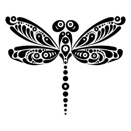 Prachtige libelle tattoo Artistieke patroon in vlindervorm Zwart-wit afbeelding