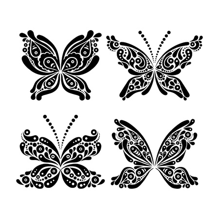 butterfly tattoo: Set of beautiful black and white butterfly tattoo Illustration
