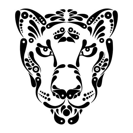 jaguar: Panther tatuaje, símbolo ilustración decoración