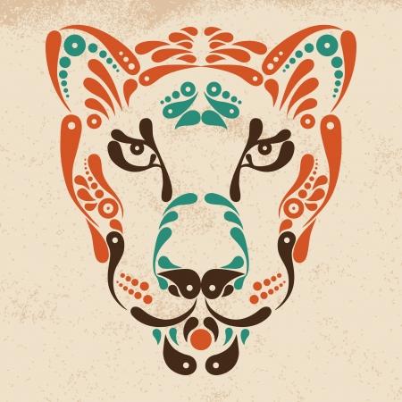 puma: Panther tattoo, symbol decoration illustration