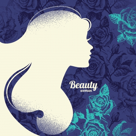 vogue style: Beautiful girl silhouette  Vintage retro background with hand drawn rose flowers