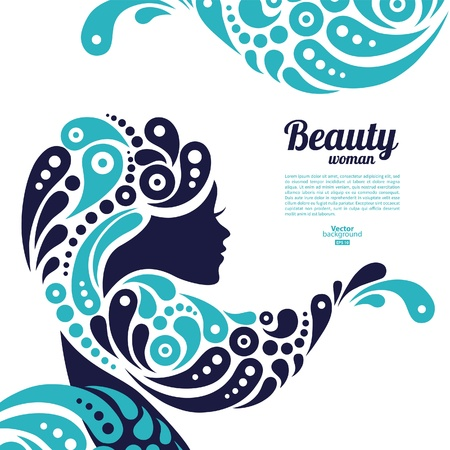 blue hair: Beautiful woman silhouette  Tattoo of abstract girl hair  Marine design