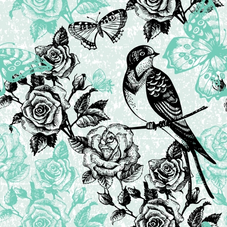 rose butterfly: Vintage seamless floral pattern  Hand drawn illustration with bird and butterfly
