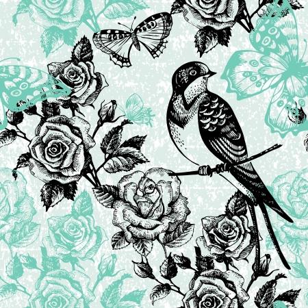 mazzo di fiori: Vintage seamless pattern floreale Illustrazione disegnata a mano con uccelli e farfalle Vettoriali