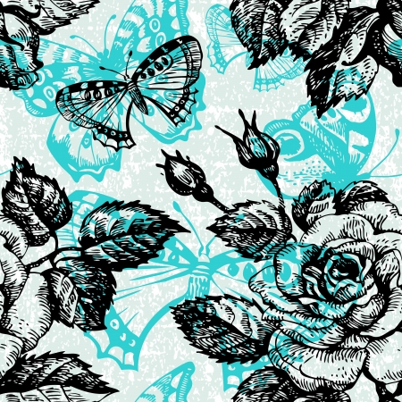 Vintage seamless floral pattern. Hand drawn illustration with butterfly Vector