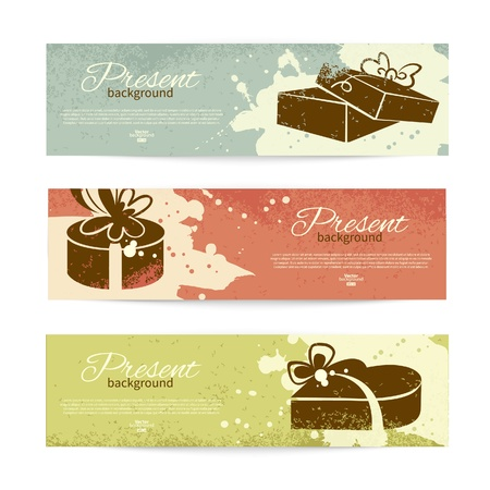 package design: Set of vintage banners with present background with gift box. Vector illustration with splash design