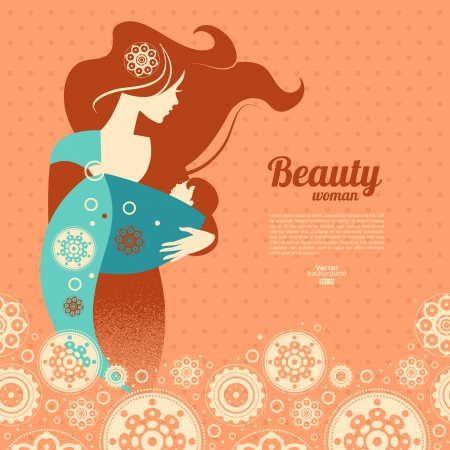Beautiful mother silhouette with baby in a sling and floral background Vector