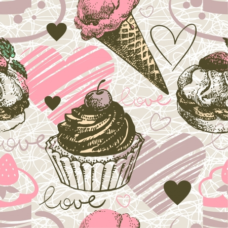 Seamless pattern with hand drawn ice cream and cakes. Love background with doodle hearts Vector