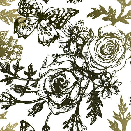 rose petal: Vintage seamless floral pattern. Hand drawn illustration with bird and butterfly