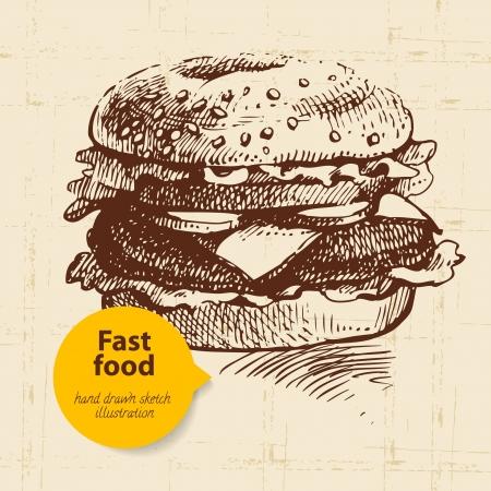 Vintage fast food achtergrond met kleur bubble. Hand getrokken illustratie