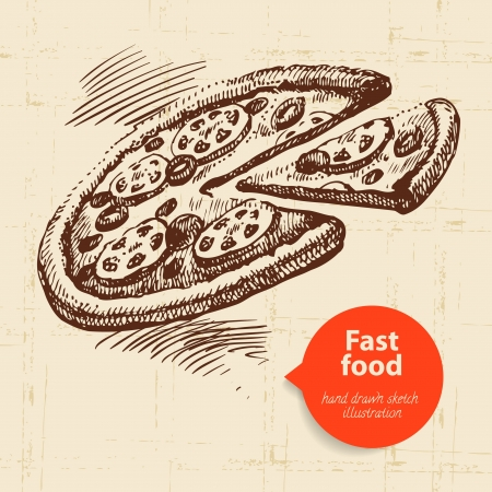 pepperoni pizza: Vintage fast food background with color bubble. Hand drawn illustration