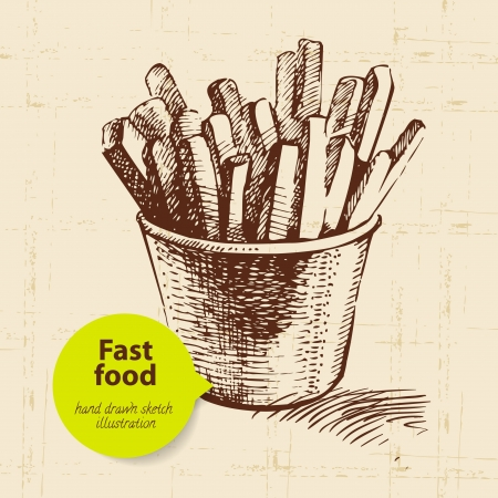 fries: Vintage fast food background with color bubble. Hand drawn illustration