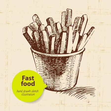 potato: Vintage nền thức ăn nhanh với màu bong bóng. Vẽ tay minh họa