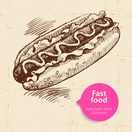 dog food: Vintage fast food background with color bubble. Hand drawn illustration