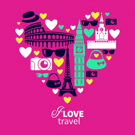 travel bag: Traveling love. Heart shape with travel icons Illustration