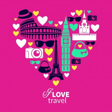 voyage: Viajando amor. Forma de coraz�n con los iconos de viajes Vectores