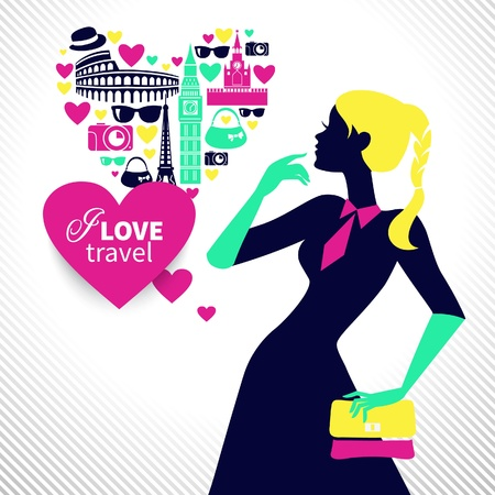 people travelling: Beautiful shopping girl dreams about traveling. Heart shape with travel icons
