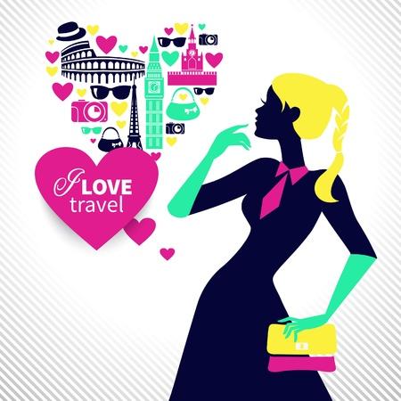 persona viajando: Hermosa chica de compras sueña con viajar. Forma de corazón con los iconos de viajes