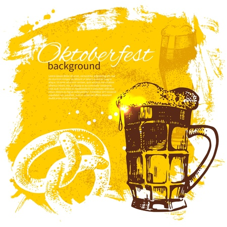 folk festival: Oktoberfest vintage background. Hand drawn illustration. Splash blob retro design with beer
