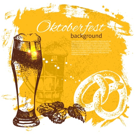 beer drinking: Oktoberfest vintage background. Hand drawn illustration. Splash blob retro design with beer