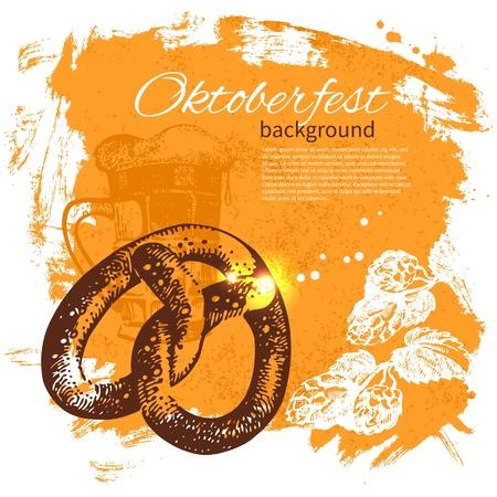オクトーバーフェスト ビンテージ背景。手描きのイラスト。ビールとスプラッシュ blob レトロなデザイン