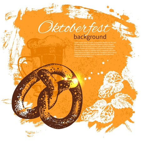 fest: Oktoberfest vintage background. Hand drawn illustration. Splash blob retro design with beer