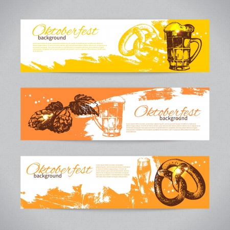 fest: Banners of Oktoberfest beer design. Hand drawn illustrations. Splash blob backgrounds
