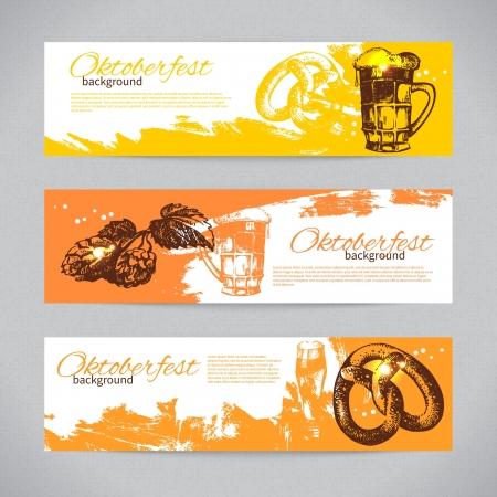 Banners van Oktoberfest bier ontwerp. Hand getrokken illustraties. Splash blob achtergronden