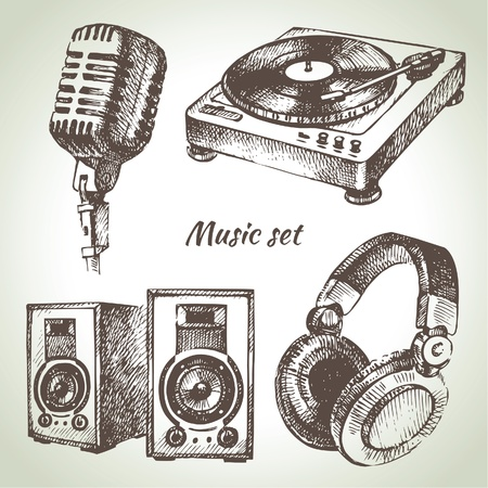 headphones: Music set. Hand drawn illustrations of Dj icons
