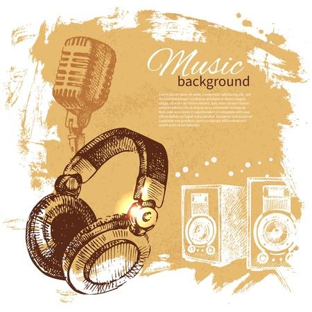 音楽のヴィンテージの背景。手描きのイラスト。ヘッドフォンでスプラッシュ blob レトロなデザイン