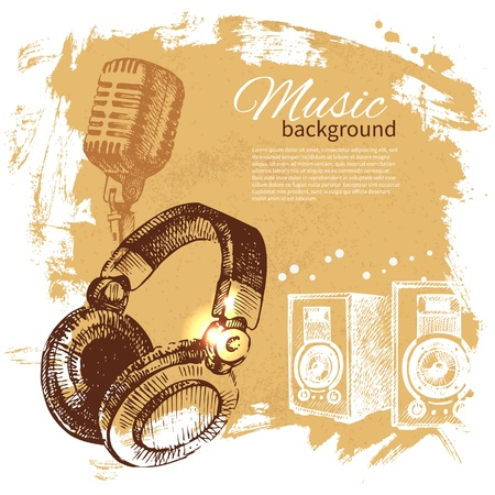 Music vintage background. Hand drawn illustration. Splash blob retro design with headphones
