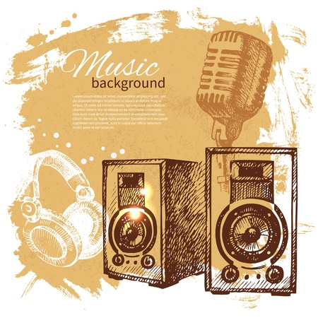 Music vintage background. Hand drawn illustration. Splash blob retro design with speakers  Vector