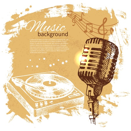 vintage radio: Music vintage background. Hand drawn illustration. Splash blob retro design with microphone