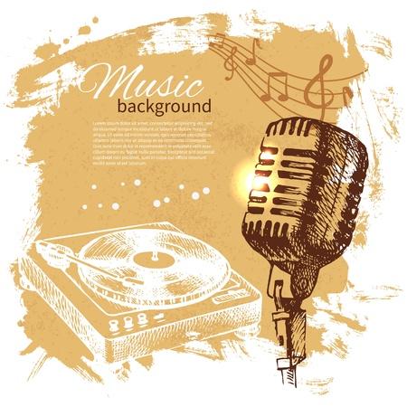radio microphone: Music vintage background. Hand drawn illustration. Splash blob retro design with microphone
