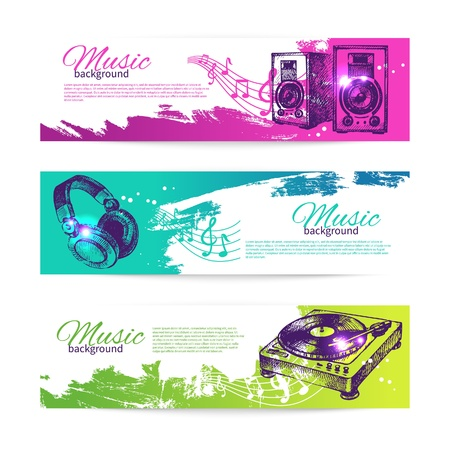 dj turntable: Vintage banners of music design. Set of hand drawn Dj backgrounds  Illustration