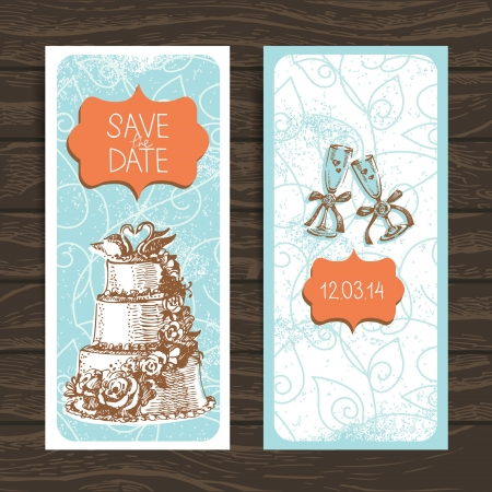Wedding invitation card. Vintage hand drawn illustration Stock Vector - 20027927