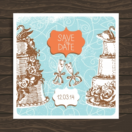 save the date: Wedding invitation card. Vintage hand drawn illustration